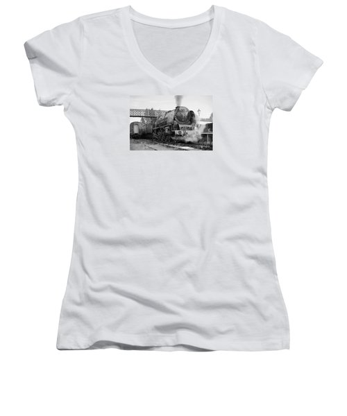 The Royal Scot In Black And White Women's V-Neck T-Shirt