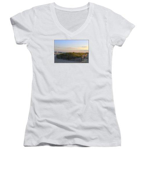 The Sand Dunes Of Long Island Women's V-Neck T-Shirt (Junior Cut) by Dora Sofia Caputo Photographic Art and Design