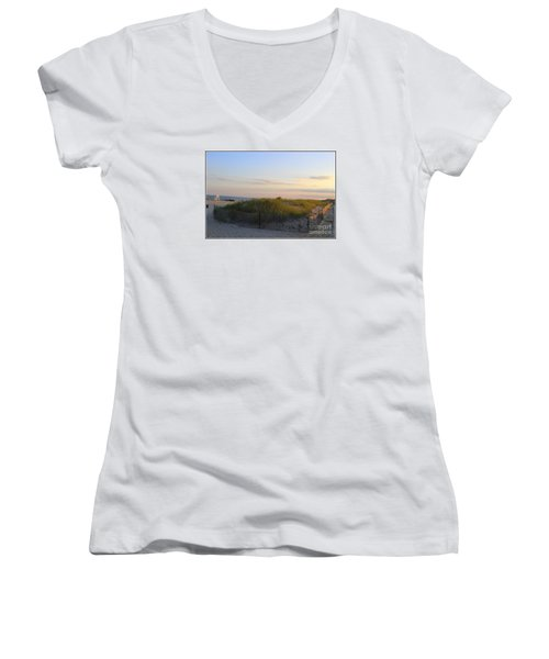 The Sand Dunes Of Long Island Women's V-Neck T-Shirt (Junior Cut)
