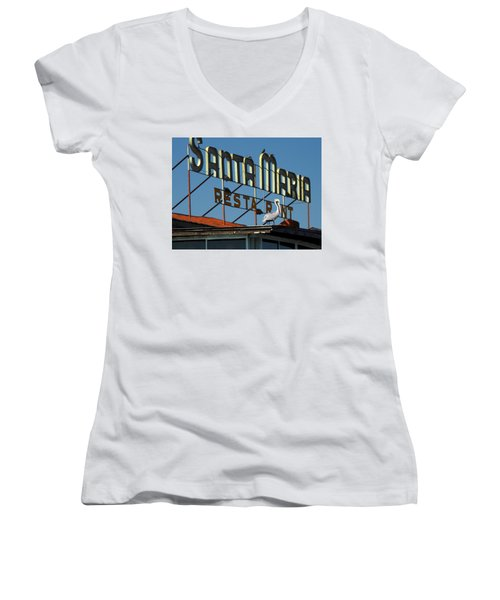 Women's V-Neck T-Shirt (Junior Cut) featuring the photograph The Santa Maria by Rod Seel