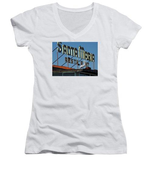 The Santa Maria Women's V-Neck T-Shirt (Junior Cut) by Rod Seel