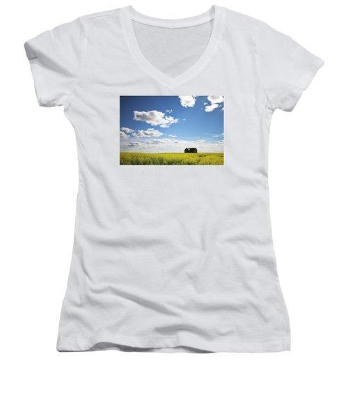 Women's V-Neck T-Shirt (Junior Cut) featuring the photograph The Saskatchewan Prairies II by Ryan Crouse