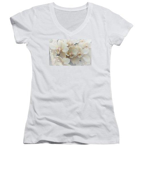 The Secret To Orchids Women's V-Neck T-Shirt (Junior Cut) by Sherry Hallemeier
