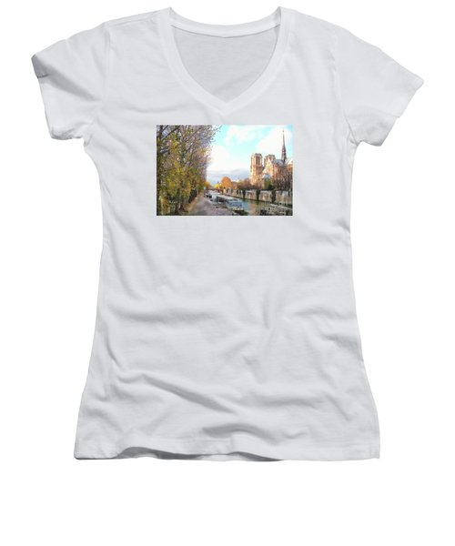 Women's V-Neck T-Shirt (Junior Cut) featuring the photograph The Seine And Quay Beside Notre Dame, Autumn by Felipe Adan Lerma