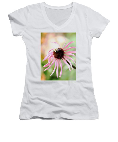 Women's V-Neck T-Shirt (Junior Cut) featuring the photograph The Sharing Game by Deborah  Crew-Johnson