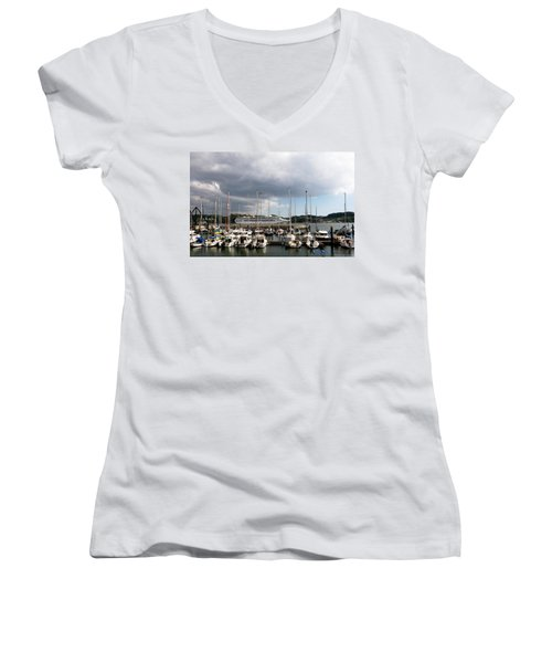 Women's V-Neck featuring the photograph Ship Comes In To Belem by Lorraine Devon Wilke