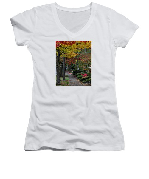 Women's V-Neck T-Shirt (Junior Cut) featuring the photograph The Sidewalk And Fall by Kirt Tisdale