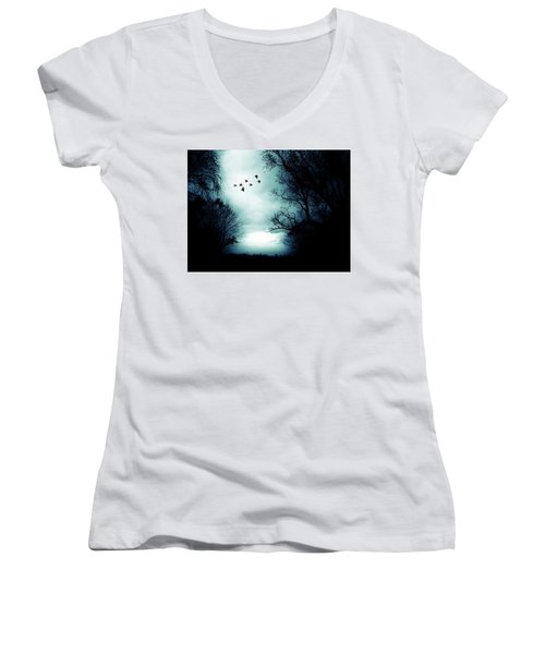 The Skies Hold Many Secrets Known Only To A Few Women's V-Neck T-Shirt (Junior Cut) by Michele Carter