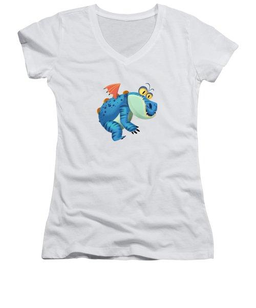 The Sloth Dragon Monster Women's V-Neck T-Shirt
