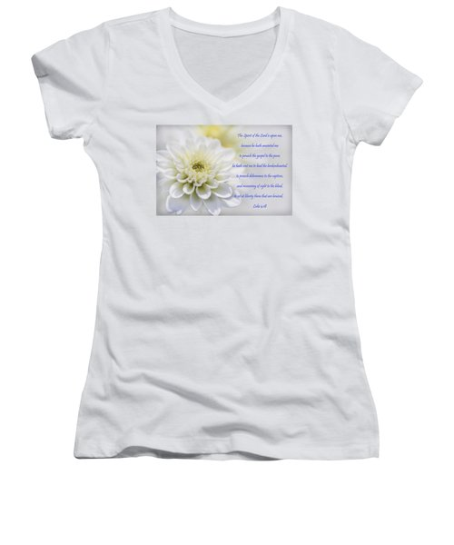 The Spirit Of The Lord Is Upon Me Women's V-Neck T-Shirt (Junior Cut) by Kathy Clark