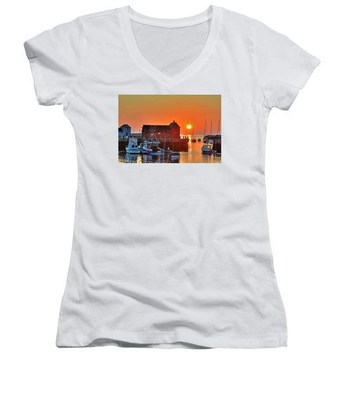 The Sun Rising By Motif Number 1 In Rockport Ma Bearskin Neck Women's V-Neck