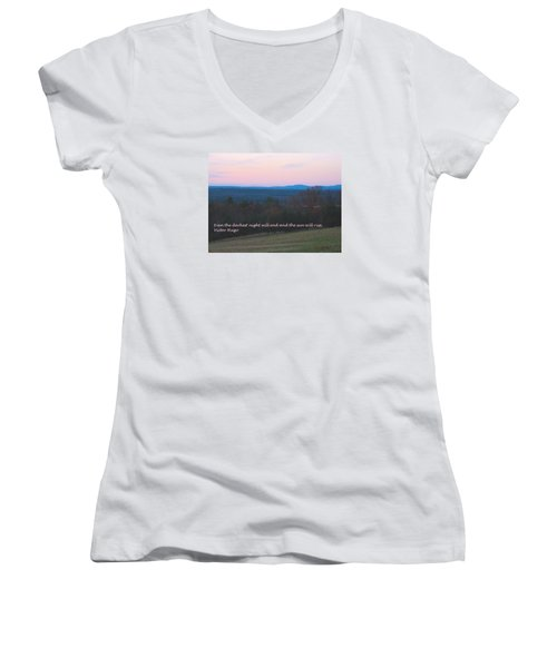 The Sun Will Rise Women's V-Neck T-Shirt (Junior Cut) by Deborah Dendler