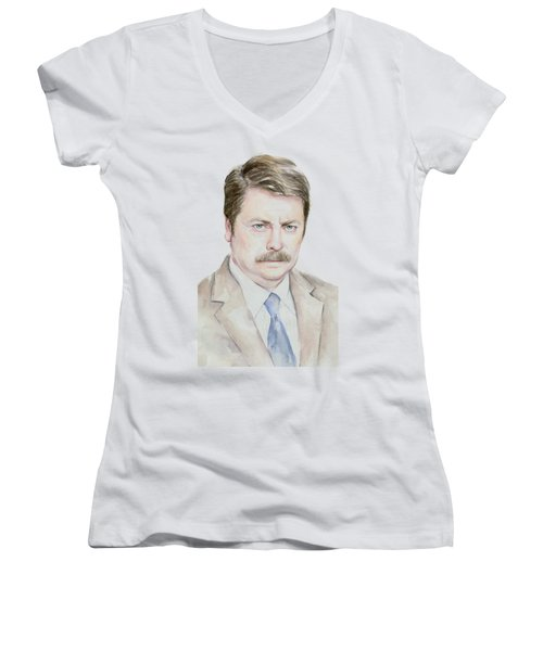 Ron Swanson Watercolor Portrait Women's V-Neck T-Shirt (Junior Cut) by Olga Shvartsur