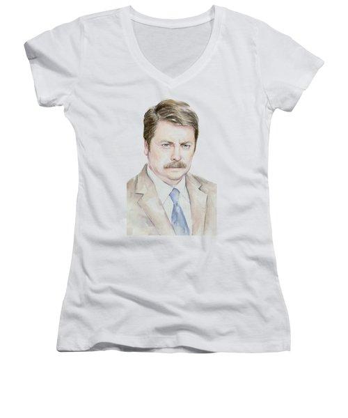 Ron Swanson Watercolor Portrait Women's V-Neck T-Shirt (Junior Cut)