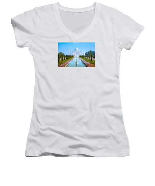 The Taj Mahal Of India Women's V-Neck T-Shirt