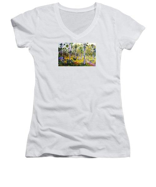 The Teak Garden Women's V-Neck T-Shirt (Junior Cut) by Jason Sentuf