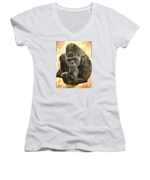 The Thinker Women's V-Neck T-Shirt