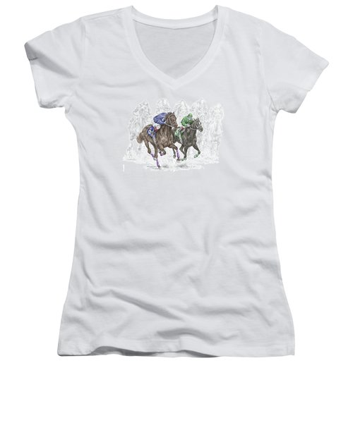 The Thunder Of Hooves - Horse Racing Print Color Women's V-Neck T-Shirt (Junior Cut) by Kelli Swan