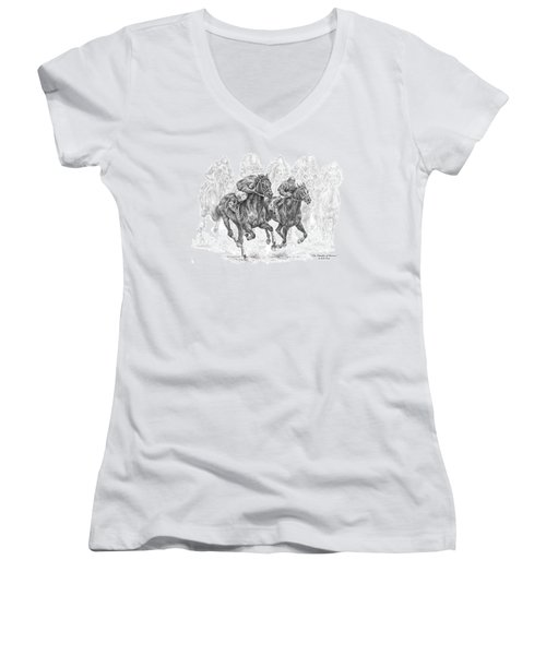 The Thunder Of Hooves - Horse Racing Print Women's V-Neck (Athletic Fit)