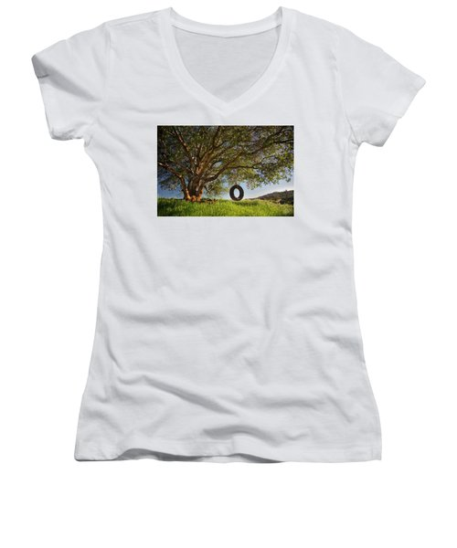 The Tire Swing Women's V-Neck T-Shirt (Junior Cut) by Endre Balogh