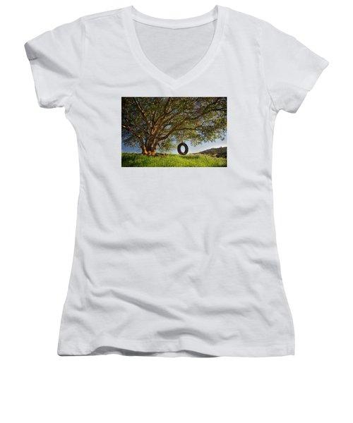 The Tire Swing Women's V-Neck T-Shirt