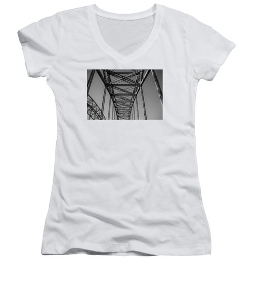 The Top Of Robert Moses Causeway Women's V-Neck (Athletic Fit)