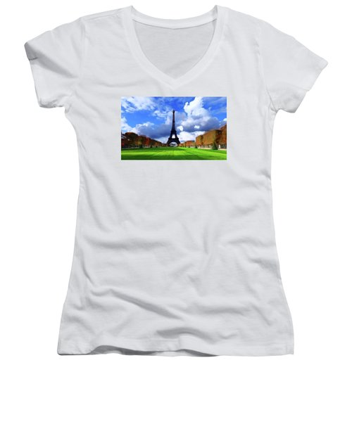 Women's V-Neck T-Shirt (Junior Cut) featuring the painting The Tower Paris by David Dehner