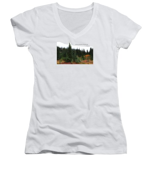 Women's V-Neck T-Shirt (Junior Cut) featuring the photograph The Trees by Lynn Hopwood