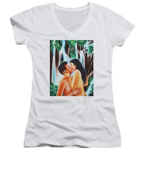 The True Nature Of Happiness Women's V-Neck T-Shirt (Junior Cut) by Ragunath Venkatraman