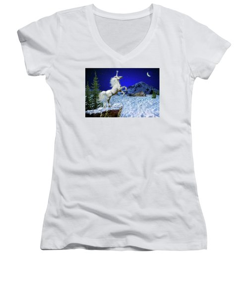 The Ultimate Return Of Unicorn  Women's V-Neck T-Shirt (Junior Cut) by William Lee