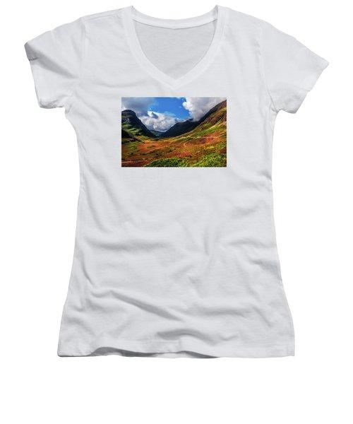 The Valley Of Three Sisters. Glencoe. Scotland Women's V-Neck T-Shirt (Junior Cut) by Jenny Rainbow