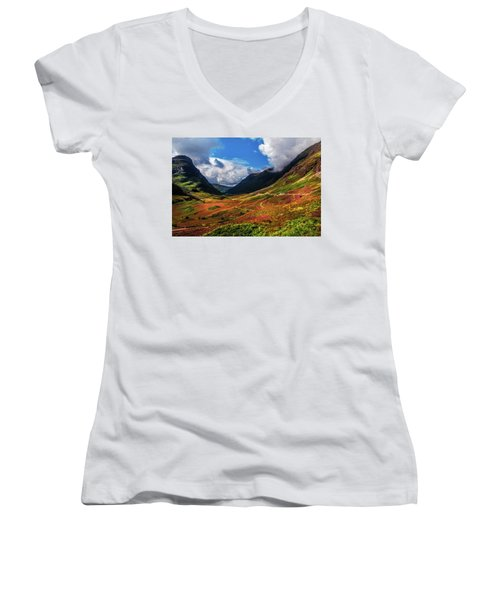 The Valley Of Three Sisters. Glencoe. Scotland Women's V-Neck