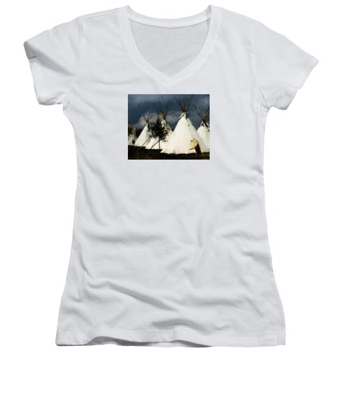 The Village Women's V-Neck T-Shirt (Junior Cut) by John Freidenberg