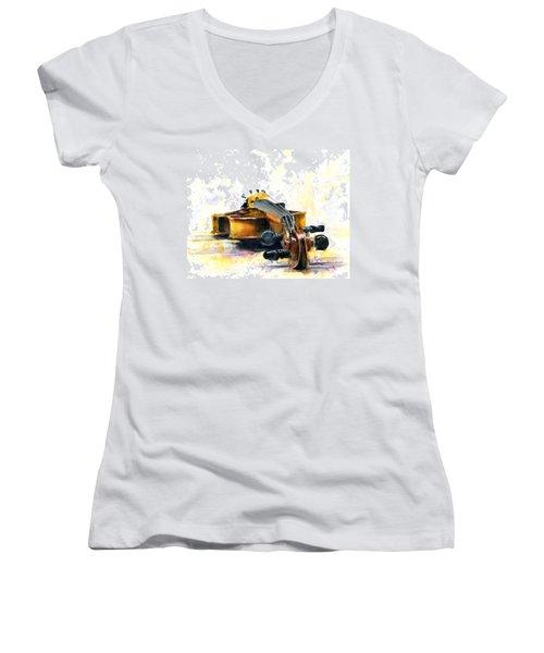 The Violin Women's V-Neck T-Shirt (Junior Cut) by John D Benson