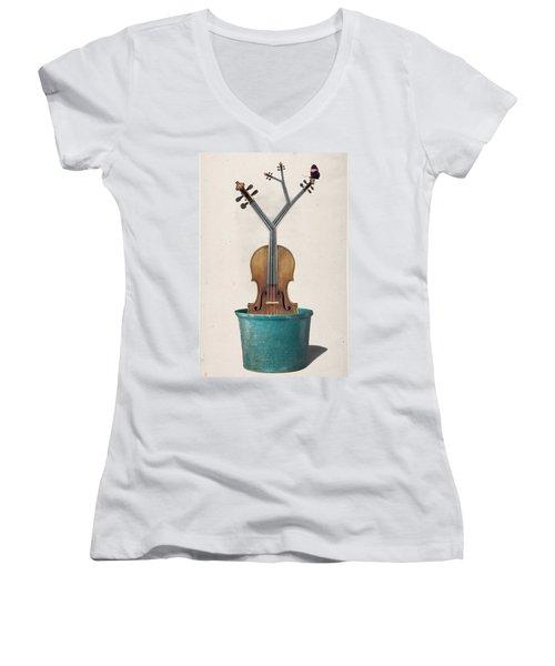 The Voilin Plant Women's V-Neck T-Shirt (Junior Cut) by Keshava Shukla