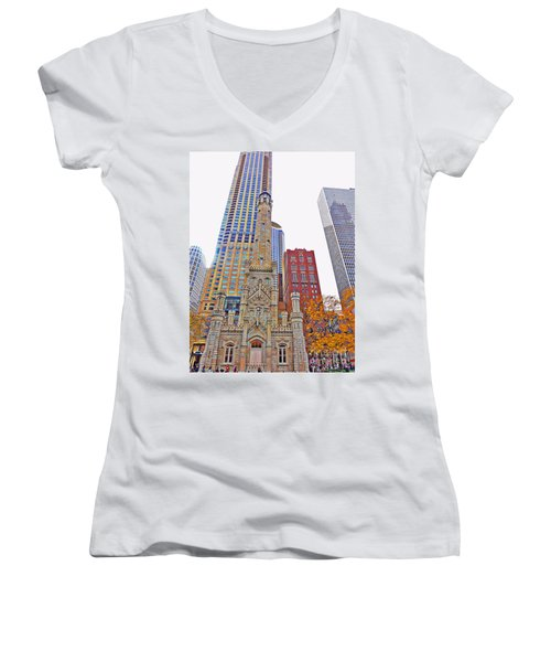 The Water Tower In Autumn Women's V-Neck T-Shirt (Junior Cut) by Mary Machare