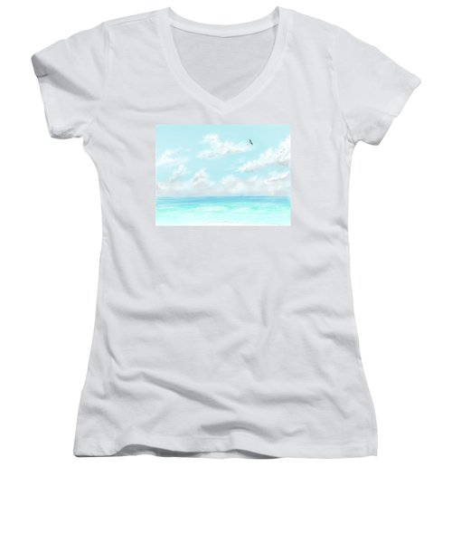 Women's V-Neck T-Shirt featuring the digital art The Waves And Bird by Darren Cannell