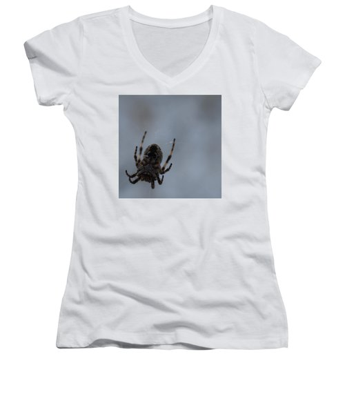 Women's V-Neck T-Shirt (Junior Cut) featuring the photograph The Webs We Weave by Ramona Whiteaker