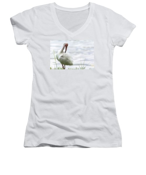 The White Ibis  Women's V-Neck T-Shirt (Junior Cut) by Saija  Lehtonen