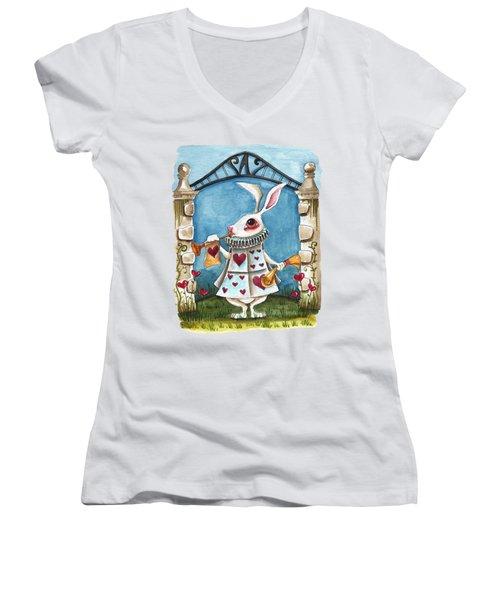 The White Rabbit Announcing Women's V-Neck T-Shirt (Junior Cut) by Lucia Stewart