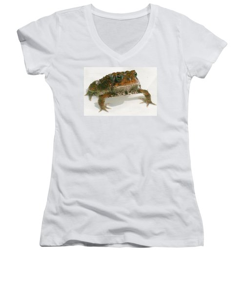 Women's V-Neck T-Shirt (Junior Cut) featuring the digital art The Whole Toad by Barbara S Nickerson