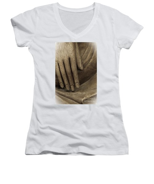 The Wooden Hand Of Peace Women's V-Neck