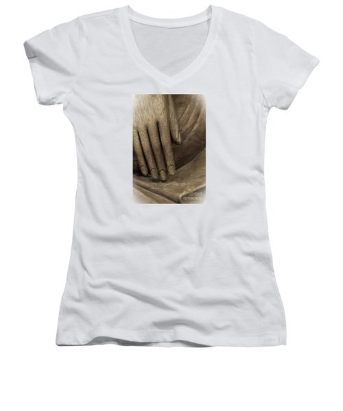 The Wooden Hand Of Peace Women's V-Neck (Athletic Fit)