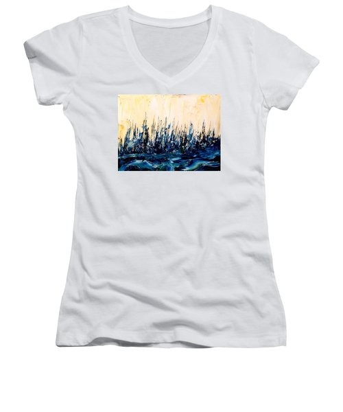 The Woods - Blue No.2 Women's V-Neck (Athletic Fit)