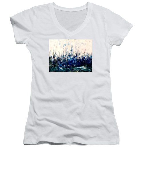 The Woods - Blue No.3 Women's V-Neck T-Shirt
