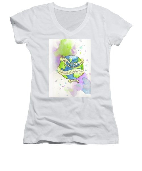The World Only Spins Forward Women's V-Neck (Athletic Fit)