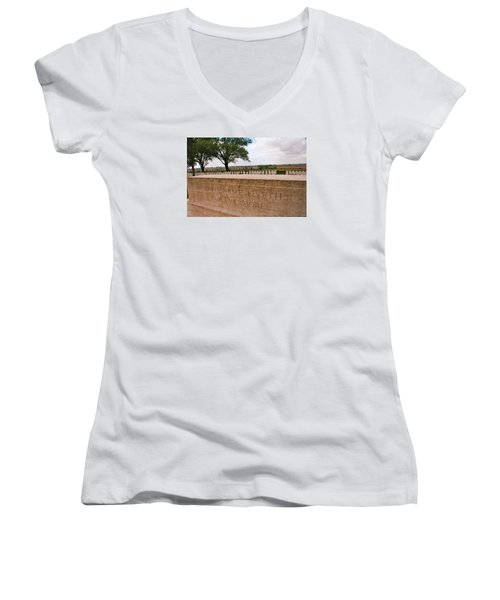 Women's V-Neck T-Shirt (Junior Cut) featuring the photograph Their Name Liveth For Evermore by Travel Pics