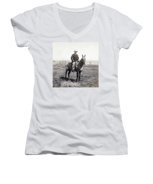 Theodore Roosevelt Horseback - C 1903 Women's V-Neck (Athletic Fit)