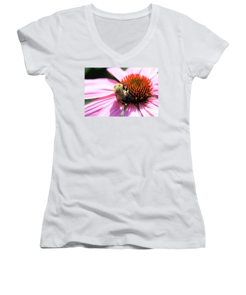 Think Bees Women's V-Neck T-Shirt (Junior Cut) by Paula Guttilla