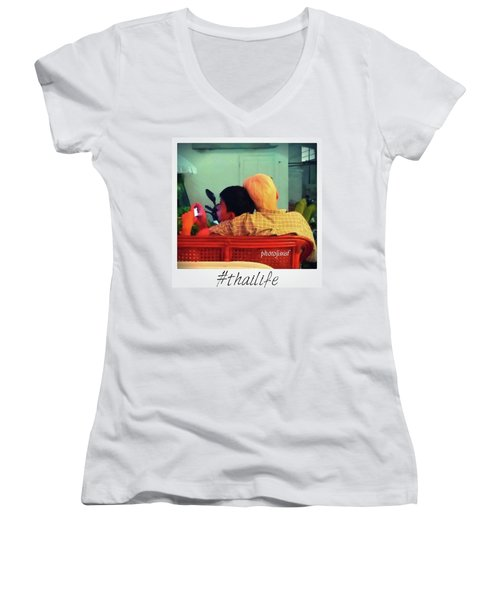 Women's V-Neck featuring the photograph Thinking About Escaping Us by Mr Photojimsf
